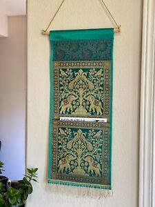 Wall decor/ Wall hanging/ Tapestry, Silk, Mail holder Organizer,Green, Brocade