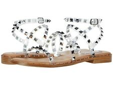 Women's Shoes Steve Madden TRAVEL Ankle Strap Stud Flat Sandals CLEAR