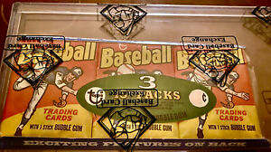1975 TOPPS WAX TRAY - RARE - BBCE- AUTHENTICATED / WRAPPED, 3 UNOPENED PACKS