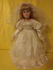 "Beautiful Porcelain Bride Doll 16"" Tall"