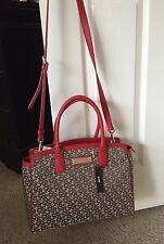 NWT DKNY Monogram Brown Print Red Trim Handbag Purse Bag Great