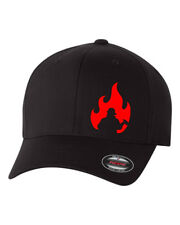 FIREMAN FLAME  FLEXFIT HAT CURVED or FLAT CURVED BILL