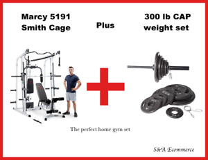 🔥New Marcy MD-5191 Smith Cage Home Gym  and 300 lb weight set