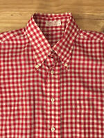 Vintage Mens Red White Gingham Button Down Single Needle Tailoring Shirt 15/ 32