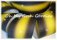 """3"""" Glitter Double Ombre Cheer Grosgrain Ribbon 4 Tic Toc Bow Black Yellow Gold"""