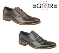 MENS SMART Formal Wedding Brown Black Capped Oxford Shoes  Size 6 7 8 9 10 11 12