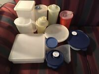 Great Lot Of Tupperware Blue Vented Storage Containers Square Bowl Pitcher 7