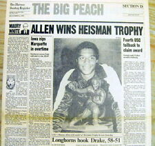 Best 1981 hdlne newspaper USC football halfback MARCUS ALLEN wins HEISMAN TROPHY
