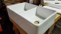 "32"" White Fireclay Farmhouse Double Bowl Kitchen Sink Heavy Duty Front Apron"