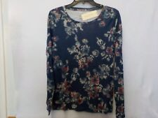 WOMENS SIZE MEDIUM SONOMA NAVY BLUE FLORAL LONG SLEEVE CREW SHIRT NWT NEW #5198