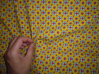 ancien tissu coupon MARIGNAN vintage provençal année 60 / jaune