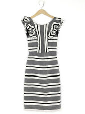 Paul Smith Womens Black Striped Ruffle Trim Dress Size 38 (UK Size 10)