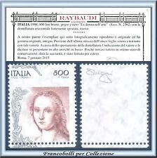 1998 Italia Repubblica Donna Arte L. 800 Varietà RARO Certificato Raybaudi **