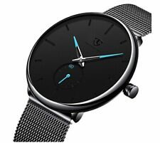Watch Mens Black Casual Simple Minimalist Ultra Thin Fashion Business Dress Wate