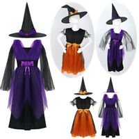 Girls Witch Costume Children Halloween Tutu Fancy Dress Outfit Hat Toddler Kids