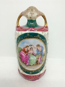 """Prov Saxe Vase ES Germany Prussia Figural Classical Scene 7"""" mark 14 Hand Signed"""