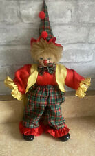 Vintage Porcelain Circus Clown Doll Toy Collectable With Hat 17�
