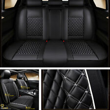 PU Leather Car SUV Seat Covers Universal Set Front+Rear Cushion Mat Black/White
