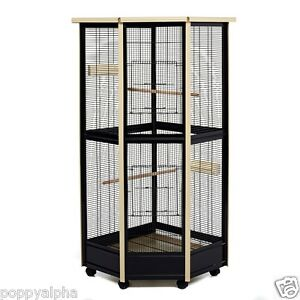 Little Friends Tall All Metal Corner Aviary Cage - Great For Birds and Rats