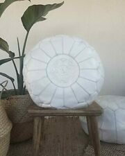 White Moroccan Pouf - Handmade Genuine Leather -100% real Natural Leather pouf