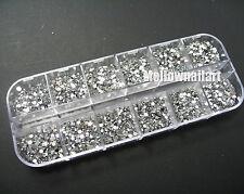 3600Pcs Clear Silver Gems Nail Art DIY Round Flat Rhinestones 2MM Glitter Case