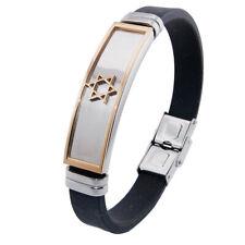 Stylish Men Stainless Steel Cuff Black Rubber Bangle Bracelet Star of David