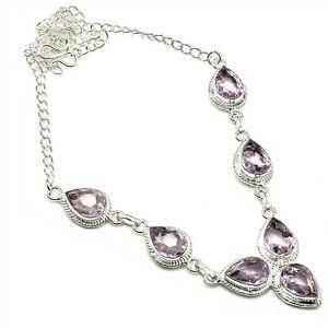 "Pink Kunzite Gemstone 925 Sterling Silver Handmade Jewelry Necklaces Sz 18"""