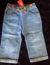 NWT ~ Gymboree FLORAL REEF denim capris pants crocheted flower belt ~ girls 5 5T