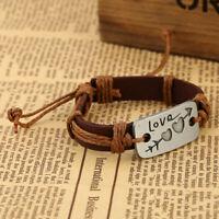 Tan Arrow Through Heart Love Engraved Wrap Leather Bracelet Like Paparazzi