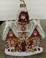 Robert Stanley Large Peppermint Candy GINGERBREAD HOUSE Christmas Glass Ornament