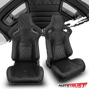2× Universal Black PVC Main Black Line Racing Bucket Seats Left/Right Pair