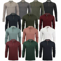 Mens Polo T-Shirt Brave Soul LINCOLN Long Sleeved Jersey Pique Golf Top New