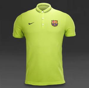 EUC Nike FC Barcelona Lime Green Polo Golf Shirt Mens FCB Football Soccer Size M