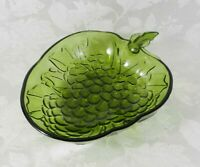 "Vintage Indiana Glass Serving Bowl 13"" Green Grape Clusters Strawberry Shape MCM"