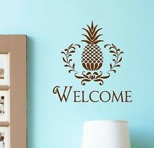 Vinyl Wall Decal Welcome Pineapple Lettering Entryway Home Decor
