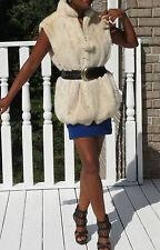 Mint young Designer White blush Mink Fur vest Sleeveless coat Jacket S-M 10/12