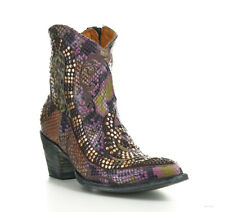L1177-14 OLD GRINGO SNAKE PRINT PINK/MOSS/AMBER/BLACK GOLD RIVETED LEATHER BOOT