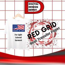 "T-shirt Inkjet Iron On Heat Transfer Paper RED GRID 8.5"" x 11""  65 PK Sheets NEW"
