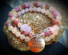 Give Up Handmade Inspirational jewelry Bracelet w charm Never Never