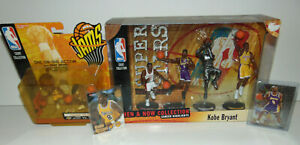 1999 MATTEL KOBE BRYANT THEN AND NOW 4 FIGURE #8 LA LAKERS + Rookie RC Cards Set