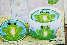 Frog Designs 6-Piece Ceramic Coaster Set with Holder (Nib) (#S4648)