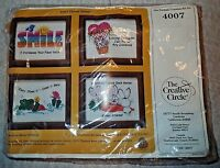 Embroidery Kit The Creative Circle Think Happy 4007 Includes 4 Frames Frog Bunny