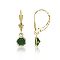 Round Emerald Birthstone Bezel Drop Dangle Leverback Earrings 14K Yellow Gold