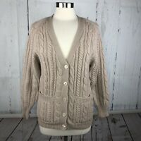 Vtg Redwood & Ross Deans of Scotland Sweater M 100% Wool Cable Knit Cardigan Tan