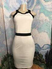 H&M S NEW IVORY ROUND NECK BLACK TRIM BODY-CON SLEEVELESS ABOVE KNEE DRESS