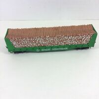 Tyco HO Scale Great Northern 50' Pulpwood Car with Log Load Green Vintage