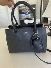 Guess G Logo Embossed Purse Satchel Hand Bag & Coin FOB Cognac Black  Levine NWT