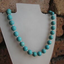 """Gems Round Beads Necklace 18"""" New Natural 10mm Blue Turquoise"""