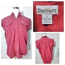 Carhartt Redneck Trucker Grunge Shirt Men's L Maroon Small Holes Inv#S8349