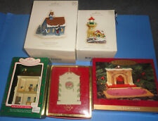 Hallmark Various Ornaments and Collector Series 5 Pieces Houses Motion